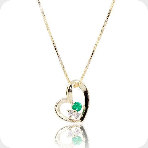 ダイヤモンド エメラルド ネックレス オープン ハート ダイア ゴールド ネックレス 誕生石 5月 4月 10金 K10レディース 女性 誕生日 プレゼント