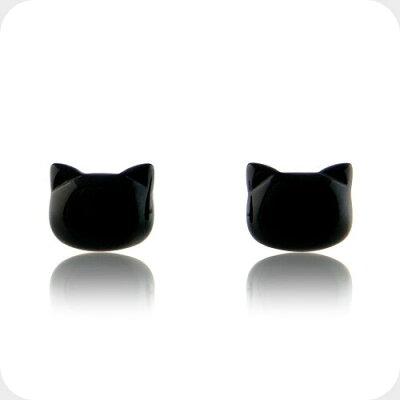 オニキスの黒猫ピアス-Jewelry_Museum_ジュエリーミュージアム