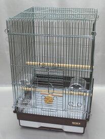 HOEI 35手のりG (銀色メッキ)ブラウン底(インコ、鳥かご、ケージ)