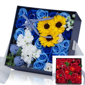 母の日 プレゼント ギフト 花 ソープフラワー アレンジボックス ボックス付き プレゼント用手提げ袋付き 青いバラ 赤い シャボンフラワー 石鹸 ソープ 花束 枯れない花 母の日 誕生日 記念