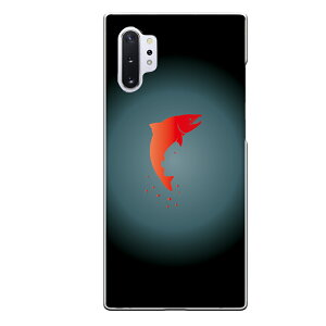 Galaxy Note10+専用 魚 生き物 ブラック グラデーション レッド シンプル クール シャケ 鮭 赤 黒 SC-01M SCV45