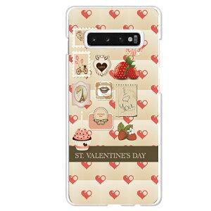 Galaxy S10専用スマホケース バレンタインデー Valentine's day ハート 苺 切手