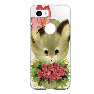 Google Pixel 3 XL専用スマホケース 猫 ネコ 花束 ブーケ かわいい