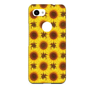 Google Pixel 3a専用スマホケース 向日葵 パターン 黄色 花 フラワー 実写 リアル