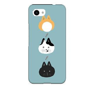Google Pixel 3a専用 かわいい おしゃれ 映え ねこ 水色 ライトブルー ポップ 黒猫 ぶち猫 茶猫 お魚 ネコ cat 縦並び