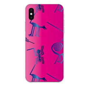 iPhone XR専用 動物 アニマル 地上絵風 おもしろ ビビットピンク グラデーション ブルー 桃 青 クール エイリアン