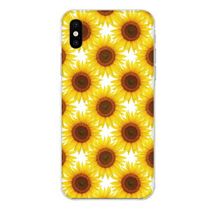 iPhone XS専用スマホケース 向日葵 パターン 黄色 花 フラワー 実写 リアル