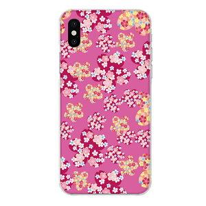 iPhone XS専用スマホケース 桜 花 和柄 和風 ピンク フラワー