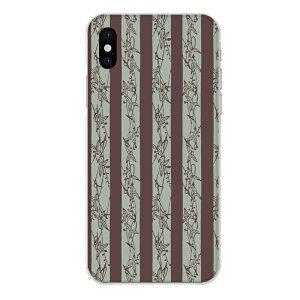 iPhone XS専用 模様 チョコミント色 植物 草