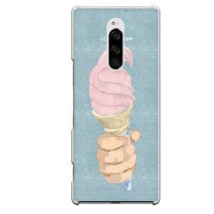 Xperia 1専用 かわいい おしゃれ 映え アイスクリーム ソフト いちご味 ピンク 桃色 苺 オールディーズ アメリカン 水色 コーン 夏にオススメ