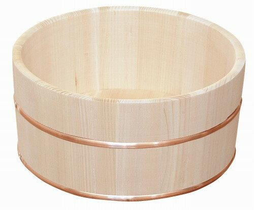 日本製 昔ながらの木製湯桶 丸 特大 (国産さわら/銅タガ)     【椹 天然木 ゆおけ 湯おけ 風呂桶】