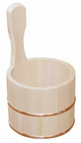日本製 昔ながらの木製湯桶 片手 (国産さわら/銅タガ)     【椹 天然木 湯おけ ゆおけ 片手桶 風呂桶】