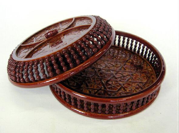 【菓子鉢】 玉付ヒゴ菓子器 蓋付     《16-910 かしき かし鉢 カシ鉢 かしばち 菓子うけ 小物入れ》