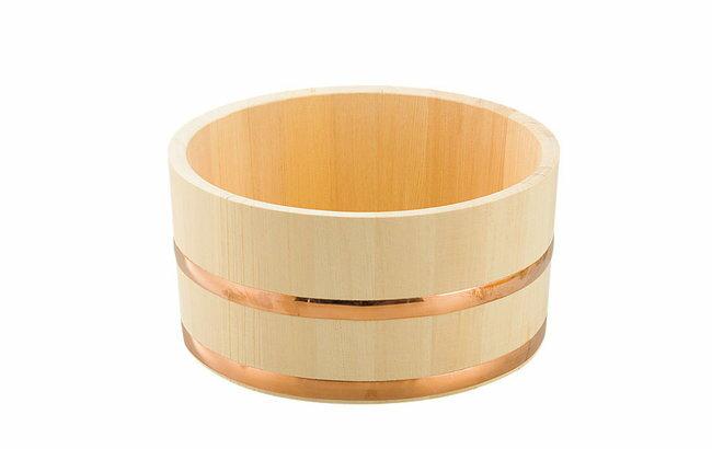 日本製 ひのき湯桶(銅タガ/丸型) 《82463》     【木製 檜 桧 ゆおけ 湯おけ 風呂桶 国産】 ヤマコー てまひま工房