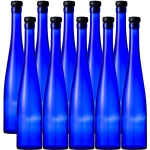 ブルーボトル 375モーゼルCBT 木口コルク付 375ml お得10本セット ガラス瓶 焼酎瓶 ワイン 酒瓶 果実酒びん blue glass bottle