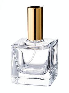 香水瓶 ガラス容器 アトマイザー 化粧品 50mlサイコロ瓶 スプレー【金・銀】