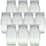 ガラス保存容器食料瓶ナメタケ120120ml-10本セット-jar(47スクリューCAP/白)