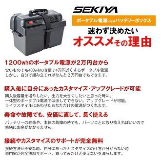 SEKIYA蓄電用12V外部出力端子付バッテリーBOXバッテリーをケースにいれると家庭用ポータブル蓄電池にバッテリー容量表示付簡単接続12VソケットUSB出力