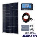 単結晶 大型太陽光ソーラーパネル 【100W 12V】【15Aコントローラ付】