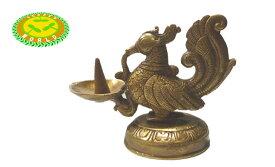 真鍮製工芸品 ピ−コック(孔雀)のお香立て(コーンタイプ)