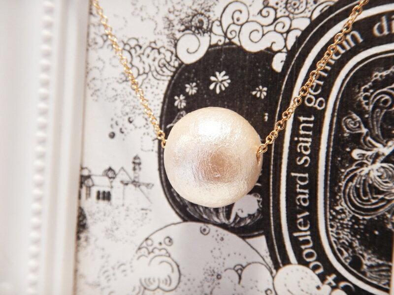 春アクセ♪【送料無料】◆ 大粒 コットンパール ネックレス アクセサリー ジュエリー 最安挑戦 通販 キスカ ゴールド 大人可愛い 美肌 上品 ブランド 冠婚葬祭 デート パーティ ロンハーマン プレゼント ラッピング 冬xax