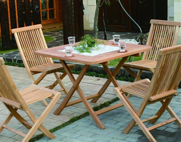 5 Piece Set Of Folding Chairs With Teak Folding Square Table B [garden  Furniture Garden Chair Garden Table Wooden Folding Furniture Chair Chairs  Terrace ...