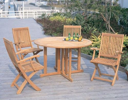 5piece set of teak folding gateleg table with 4 arm chairs garden furniture garden table wooden dining table