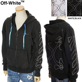 オフホワイト OFF WHITE ジップパーカー スウェット メンズ ホワイト/ブラック S/M/L/XL OMBE001F19E30011