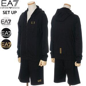 エンポリオ・アルマーニ EMPORIO ARMANI EA7 セットアップ スウェット上下 ジップパーカー ハーフパンツ メンズ ブラック×ゴールドロゴ/ホワイト×ブラックロゴ/ブラック×ホワイトロゴ S/M/L/XL/2XL