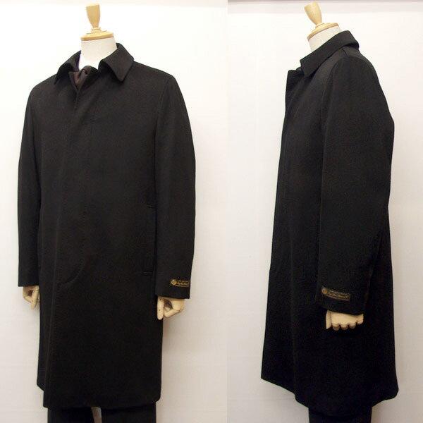 ロロピアーナ カシミヤ混メンズ セットイン ステンカラー コート[401]ブラック st90150-C-BK