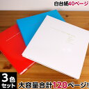 フォトレンジ3色セット ★ 白フリー台紙20枚(40ページ) ★ ナカバヤシ フエルアルバム Lサイズ 20L-92 【大容量 貼り…