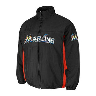 MLB Marlins jacket black Majestic
