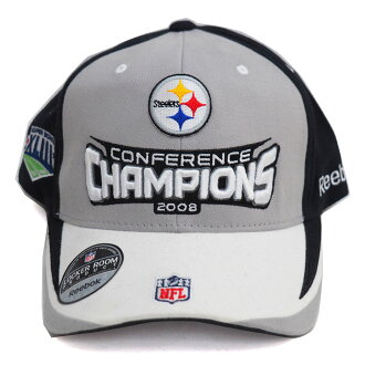 MLB NBA NFL Goods Shop  NFL Steelers 2008 District Championship  commemorative locker room Cap Reebok  Reebok grey  06a32b236