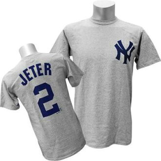 MLB Yankees Derek Jeter T shirt gray majestic Player T shirt