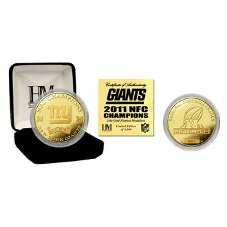 2011 NFL New York Giants NFC Champions 24KT gold coin The Highland Mint