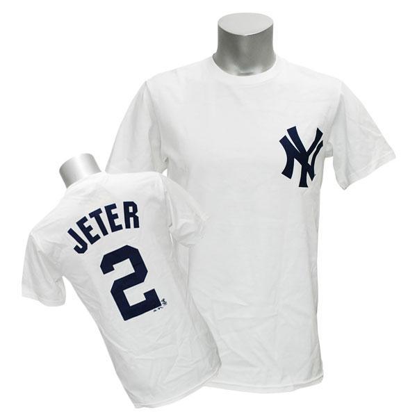 MLB ヤンキース デレク・ジーター Tシャツ ホワイト マジェスティック Player Tシャツ