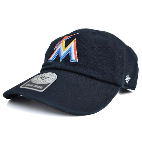 MLB マーリンズ キャップ/帽子 ブラック 47ブランド Cleanup Adjustable キャップ【0702価格変更)】