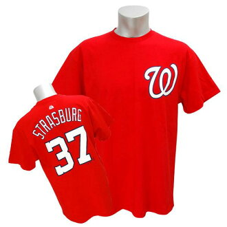 Majestic MLB nationals # 37 Stephen Strasburg Player T shirt (red)