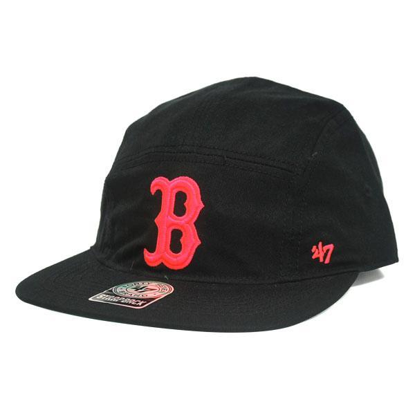 MLB レッドソックス キャップ/帽子 ブラック 47ブランド Bergen 5-Panel キャップ w/ Leather Strap