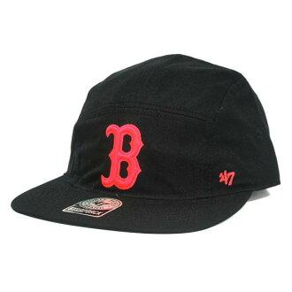 MLB紅襪隊蓋子/帽子黑色47名牌Bergen 5-Panel蓋子w/Leather Strap