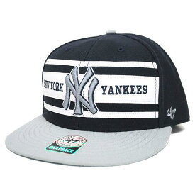 MLB ヤンキース キャップ/帽子 ネイビー/グレー 47ブランド RETRO SUPER STRIPE FLATBRIM WOOL
