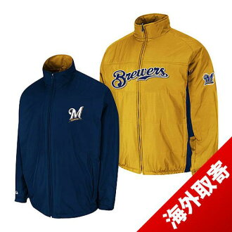 Majestic MLB Milwaukee Brewers Authentic Triple Climate-in-1 On-Field jacket (gold/Navy)