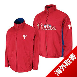 -1 MLB Phillies Authentic Triple Climate 3-In On-Field jacket (red) Majestic