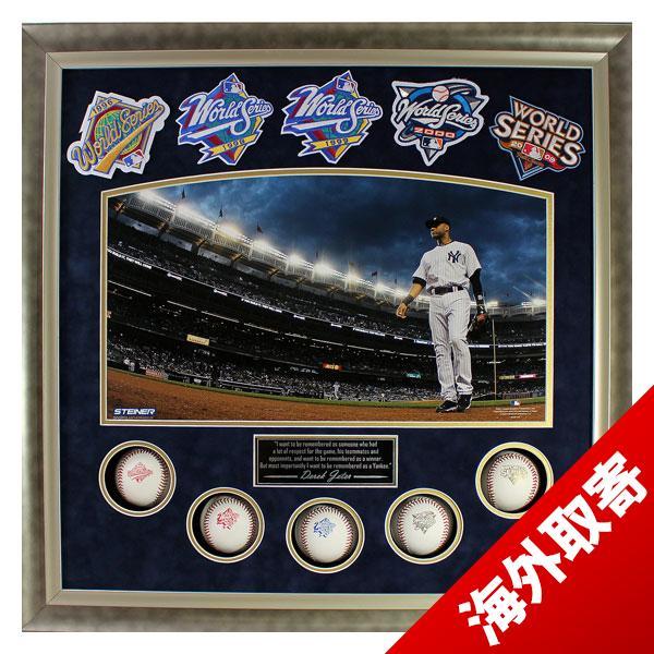 お取り寄せ MLB ヤンキース デレク・ジーター Sports Derek Jeter Framed 24x24 World Series Titles Collage w/ 5 Baseballs & Patches