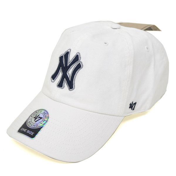MLB ヤンキース キャップ/帽子 ホワイト 47ブランド Cleanup Adjustable キャップ【0702価格変更)】