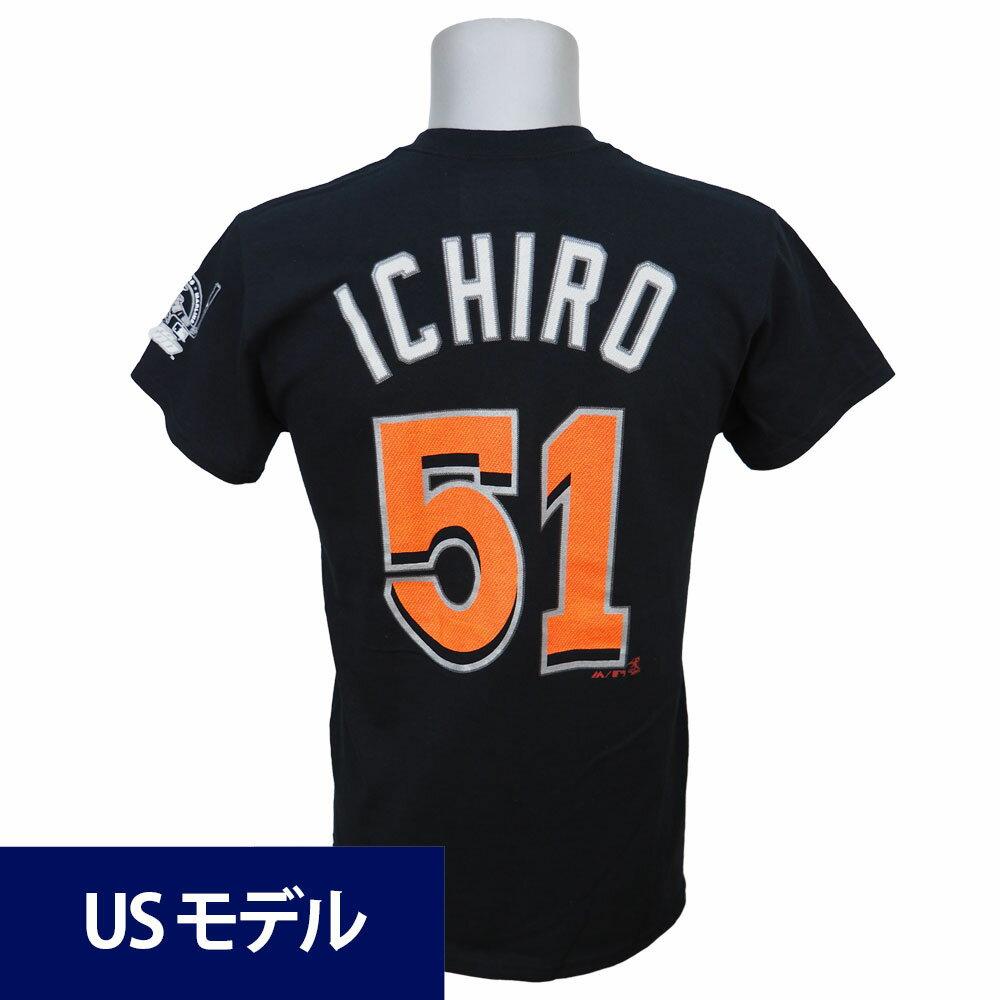 MLB マーリンズ イチロー メジャー通算3000安打達成記念 ネーム&ナンバー Tシャツ マジェスティック ブラック