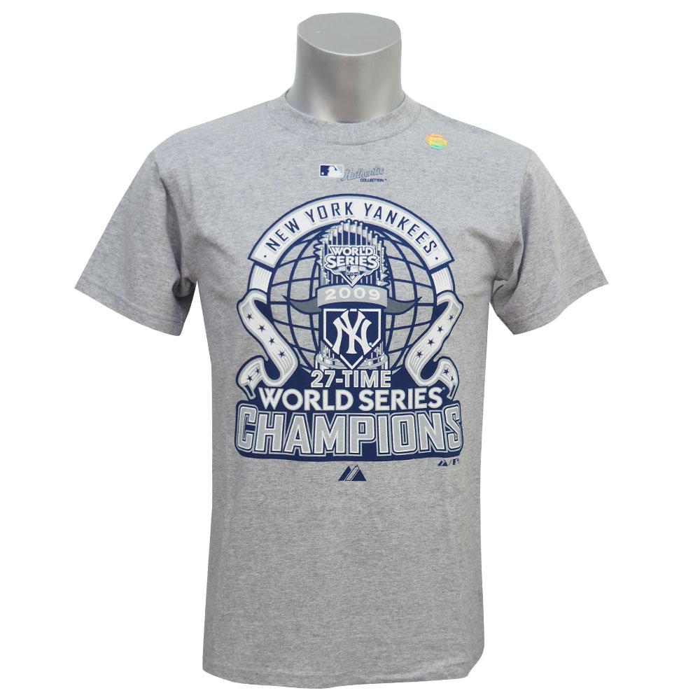 MLB ヤンキース 27タイム ワールドシリーズ チャンピオン Tシャツ マジェスティック/Majestic グレー レアアイテム