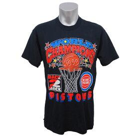 NBA Tシャツ ピストンズ 1990年度 ファイナル二連覇記念 Champion ブラック レアアイテム【1910価格変更】【1911NBAt】