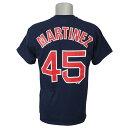 MLB レッドソックス ペドロ・マルティネス クーパーズタウン プレーヤー ネーム&ナンバー Tシャツ マジェスティック/Majestic ネイビー
