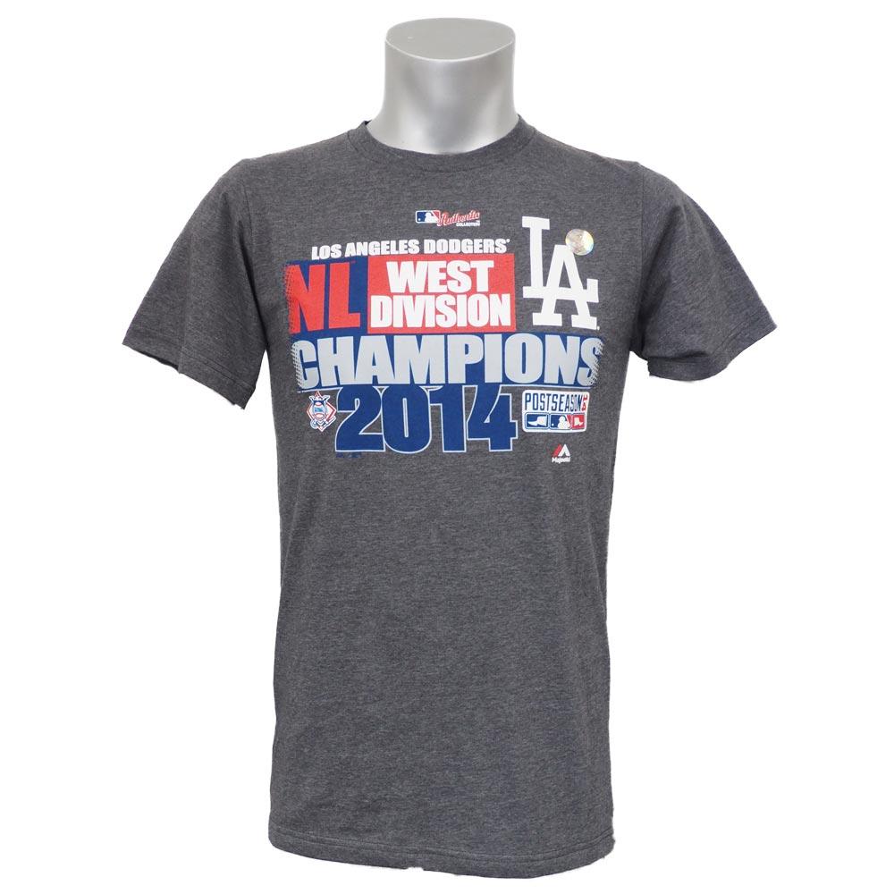 MLB ドジャース 2014 ディビジョン チャンプ Tシャツ マジェスティック/Majestic グレー【1809MLBセール】【181001セール解除】